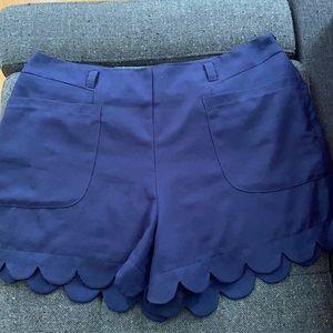 Navy Blue Scalloped Shorts
